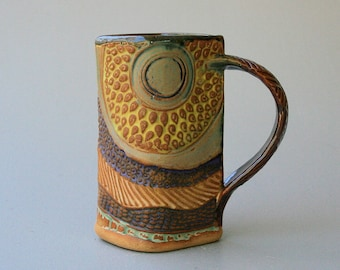 Sunflower Mug Hand-built Stoneware.