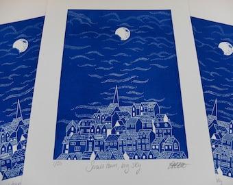 Small Town, Big Sky Original Lino Print