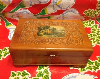 Vintage hand carved wooden jewelry box