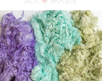 Mulberry Silk Throwsters Waste, Silk waste fibre/fiber, Silk Filament Waste, Textured Silk Waste, Spinning, felting, Weaving