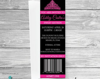 Ticket Sweet 16 Invitation - Sweet Sixteen Invitations - Ticket Invitations - Admit One Invitations - Sweet 16 Invitations - Printable