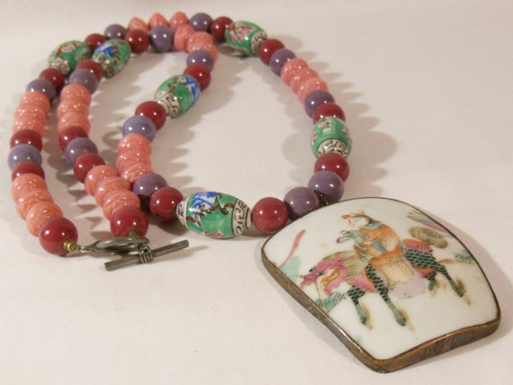 Antique Chinese Necklace Porcelain Shard Girl with Doll on Kilin Pink Coral Glass Beads