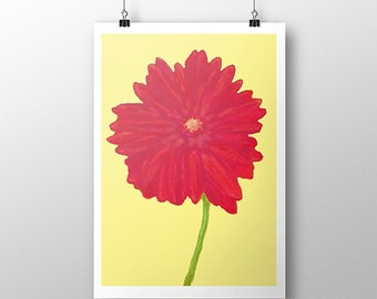 Red Daisy, Red Gerber Daisy Art Print, Giclee Print, Daisy Print, Art Print, Original Painting, Giclee Art Print, Barak Obama