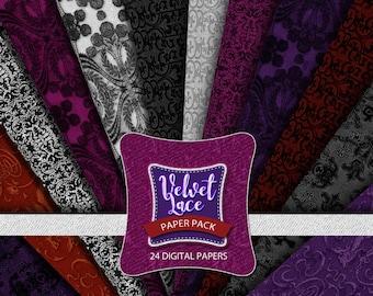 Lace Digital Paper - Velvet Lace Digital Papers, Gothic Digital Paper, Floral Digital Paper Pack, Lace Scrapbook Paper - Digital Downnload