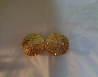 Italian Designer Mimi di N 1974 Two piece Sand-dollar Belt Buckle Gold Tone