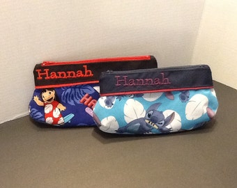 Personalized make up bag in 3 sizes made with stitch fabric or Lilo and Stitch fabric