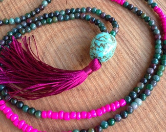 Beaded Green Necklace, Turquoise Mala Necklace, Burgundy Tassel Necklace, Beaded Yoga Necklace, Tassel Necklace, Yoga Jewelry, Green Mala