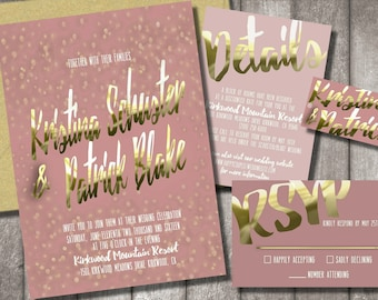 Pink & Gold Wedding Invitations
