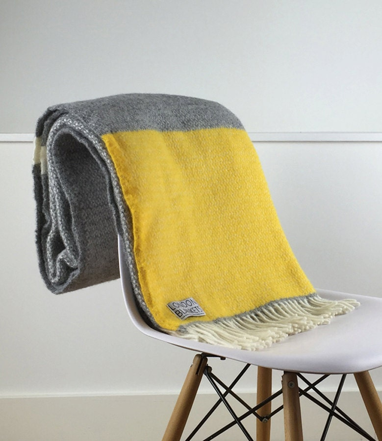 Yellow Grey Throw Blanket 100 Wool Yellow Grey Sofa Throw