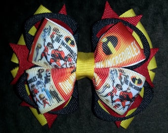 Incredibles Handmade Yellow Red Black Boutique Bow