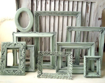 Sea Glass Green Vintage Frame Set Ornate Mint Picture Frames Green Frame Gallery Made to Order Picture Frames  Cottage Chic   Shabby Chic