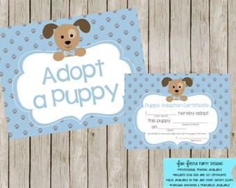 Adopt a puppy sign and certificate - blue