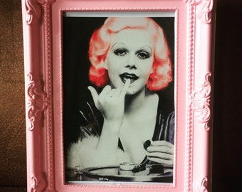 Jean Harlow print in a baby pink frame