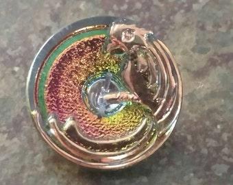 Golden Parrot on Rainbow Aurora Czech Glass Button 22mm