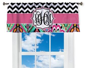Monogram Window Valance, Custom Curtain, Personalized
