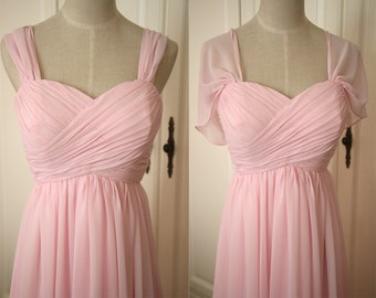 Pale Pink Sweetheart Bridesmaid Dress with Straps Knee-length/Floor Length Pink Chiffon Straps Bridesmaid Dress