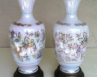 Vintage s/2 Iridescent/Opalescent w/Hawaiian Hibiscus Flowers, Nightlight base Table Lamps.  Most Unique, Mid Century Tiki Retro Lighting.