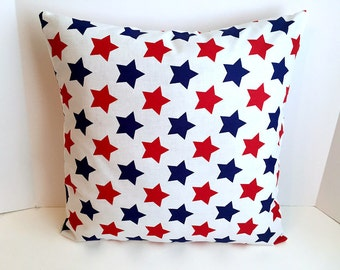 18 x 18 Red, White & Blue Star Envelope Style Pillow Cover
