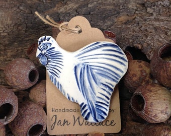 Ceramic Chicken Brooch - Delft, Cobalt Blue and White