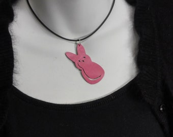 Peep Re-purposed Leather Necklace