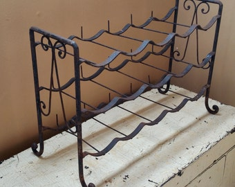 Rustic Wrought Iron French Wine Rack 15 Bottle Wine Rack