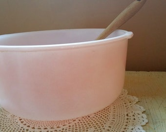 Glasbake for Sunbeam Large Pink Milk Glass Mixing Bowl