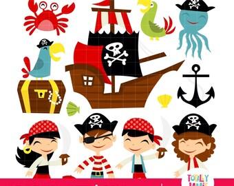 Retro  Pirate Adventure Theme PNG Set / Digital Clipart - Instant Download