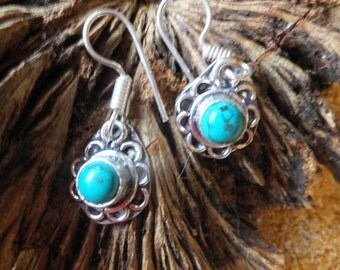 Turquoise and Sterling Silver Earrings.... 1.5 inches in length