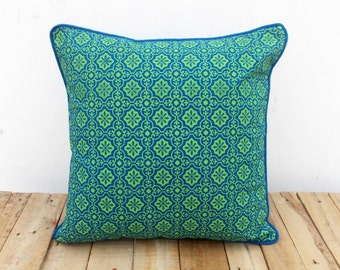 Blue and green, throw pillow cover, tile print, cotton pillow, sizes available.
