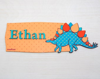 Stegosaurus Name Plaque, Personalized Boys Door Sign, Personalized Kids Room Decor, Dinosaur themed room