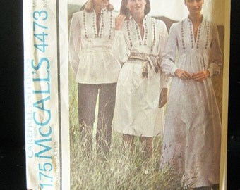 McCall's Carefree Pattern #4473, Misses Dress Or Top Including Some Transfers, Size 14, Copyright 1975, Complete Pattern,