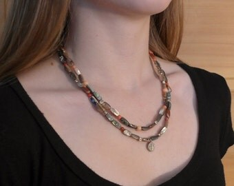 Abalone, Coral and Silver Double Strand Necklace