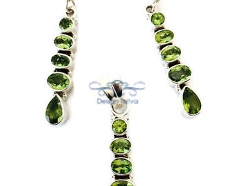 925 Sterling Silver and Peridot Dangle Earring and Pendant Set