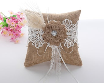 Natural Burlap Ring Pillow, Ring Bearer Pillow, Wedding Ring Pillow, Ring Cushion, Lace Ring Pillows