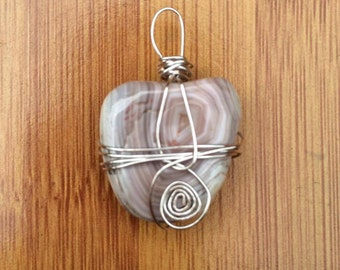 CHANGE - Handmade Wire Wrapped Botswana Agate Pendant