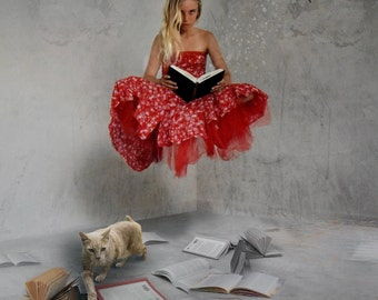 "Fine Art Composited Print ""Tales Untold"" of a girl suspended by the magic and wonder that is unfolding within the pages of a book..."