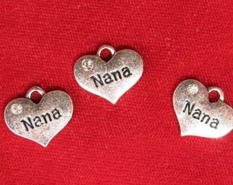 "5pc ""Nana"" charms in antique silver style (BC1093)"