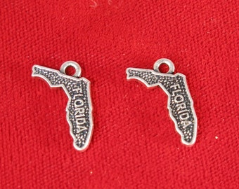 "BULK! 30pc ""Florida"" charms in antique silver (BC858B)"