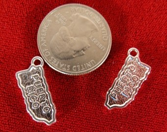 "BULK! 15pc ""Puerto Rico"" charms in silver style (BC960B)"