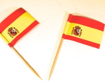 "50pc ""Spain flag"" tooth pick / cake topper (D45)"