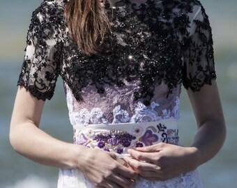 Purple embroidered belt