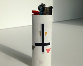 Upside down cross lighter, hipster triangle bic