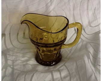 Vintage Yellow Pressed Glass Water Jug/Vase, Honeycomb Detail