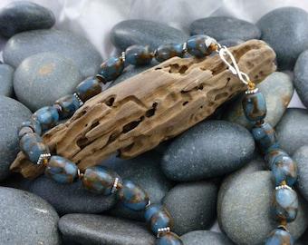 Blue and Brown Quartz Necklace