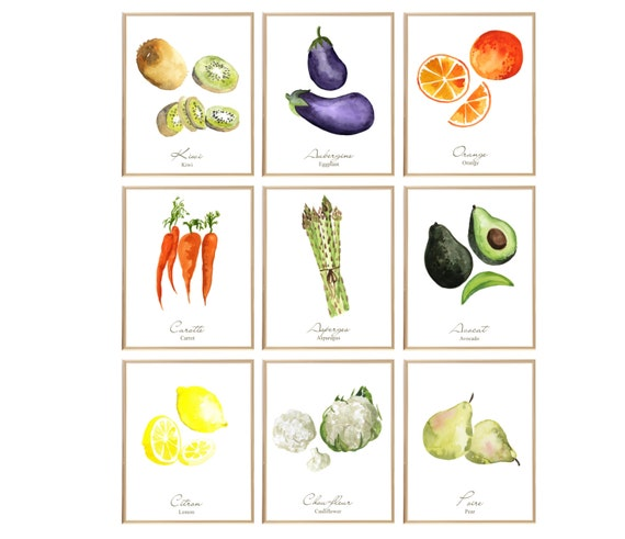 Kitchen wall decor french kitchen art fruits and by for French kitchen artwork
