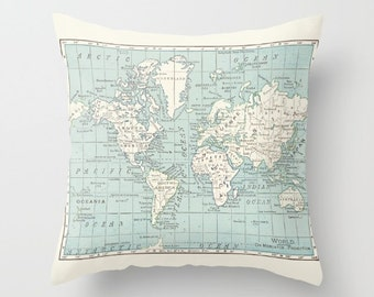 World Map Pillow - world map, travel decor, blue and cream , wanderlust,  Vintage Maps, unique, colorful
