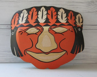 """Vintage Paper """"Masklite"""" Indian Mask, Vintage Halloween Mask"""