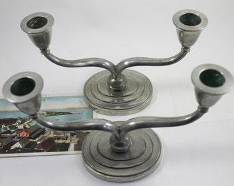 Vintage Pair of Danish Just Andersen Pewter Candelabra Candlestick Holders, Vintage Pewter Candle Holders