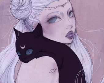 "Poster ""Serenity"" (Illustration, Art, Sailor Moon, Comic, Print, Pop surrealism,fantasy )"