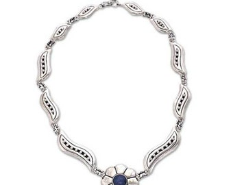 Flower Lapis Lazuli and Sterling Silver Necklace